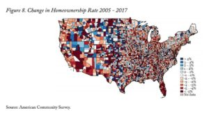 change in homeownership rate